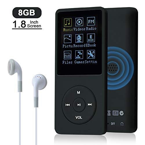 COVVY 8GB(Support bis zu 64GB SD Speicherkarte) Tragbare MP3 Musik Player 70 Stunden Musik Playback Lossless Sound Hi-Fi MP3 Player (Schwarz)