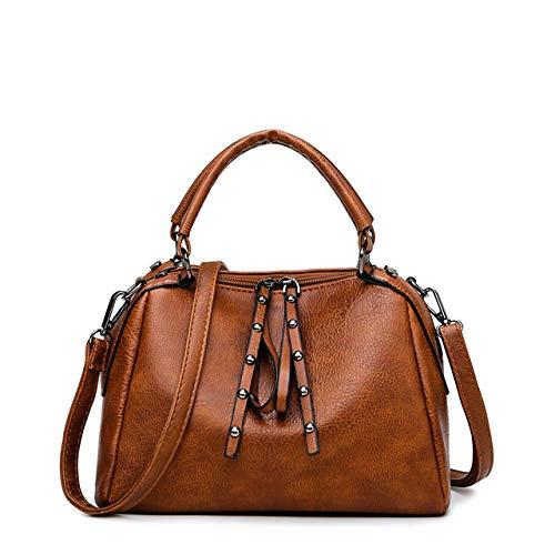 Damen Handtaschen Umhängetasche aus hochwertigem Leder, braun (Braun) - 90jhgj