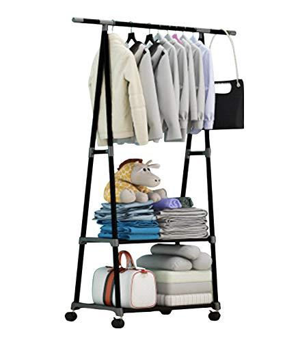 Taotie Mobiele kapstok, eenvoudige montage, afneembare kledingrek, multifunctionele garderobe met 2 vakken, kledingrek, robuust metalen frame