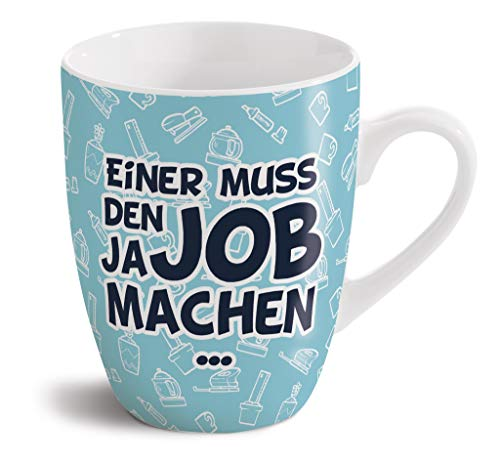 NICI 42646 Fancy Mugs - Taza de porcelana (8 x 10 cm, porcelana), diseño de burro con texto'Einer muss den Job ja Machen'