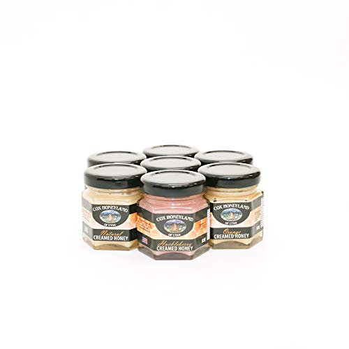 Cox Honeyland and Gifts 2oz Jar Honeycomb Sampler (7 pack) with Pure, Creamed, and Flavored Honey