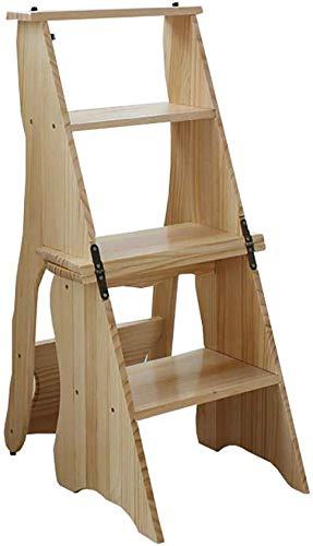 GBX Facile e Multifunzione Pieghevole Comodo Sgabello Passo, Grande Bosco 4 Pedate Chair 330 Lb Capacità, Scaletta Indoor/Scala a Pioli per Adulti Cucina (Colore: # 1),# 2