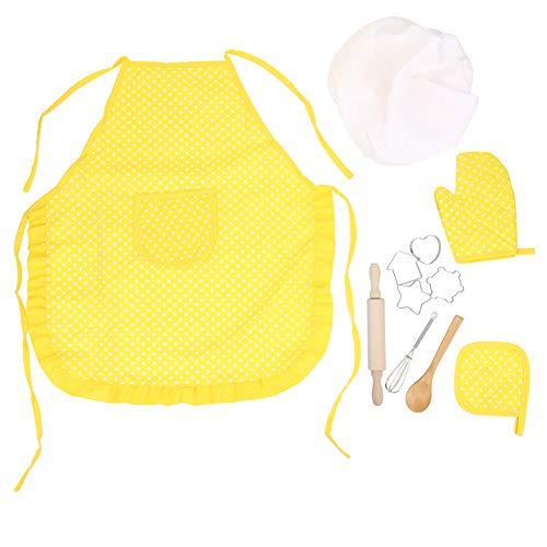 Juego de roles de chef, ayuda a desarrollar un interés en la cocina, correas ajustables, banda elástica, disfraz de chef para niña, hogar para niñas para viajes de niños(Yellow 11 piece set)