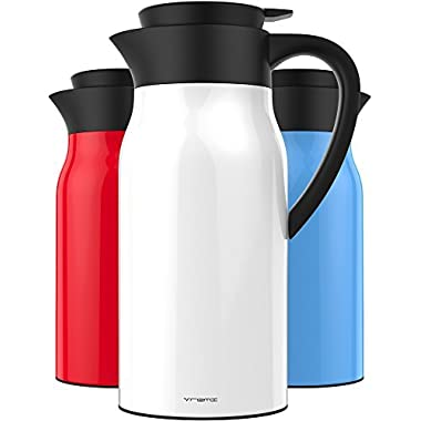 Vremi 51 oz Coffee Carafe - 1.5 liter Tea Thermos Large Travel Bottle Stainless Steel Vacuum Insulated with Leak Proof Lid - Thermal Carafe Hot Drink Carrier Container with Heat Cold Retention - White
