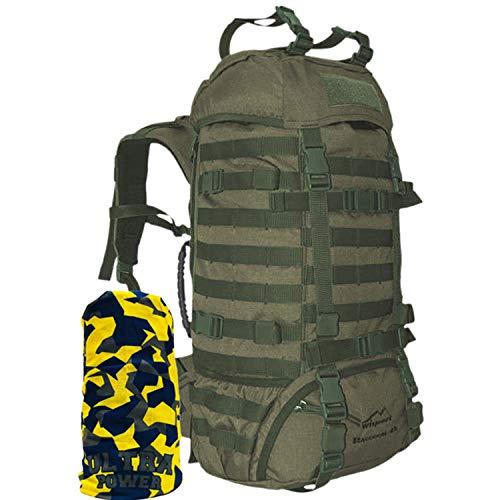 Wisport taktischer Militär Rucksack Damen Herren I Tactical Backpack Molle I Military Pack für Frauen Männer I Armeerucksack Tarnung I Assault | Raccoon 45 Liter + Ultrapower Schlauchtuch RAL-7013