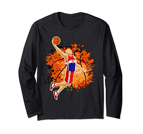 Croatia National Basketball Jersey Croatian Slam Dunk Gift Langarmshirt