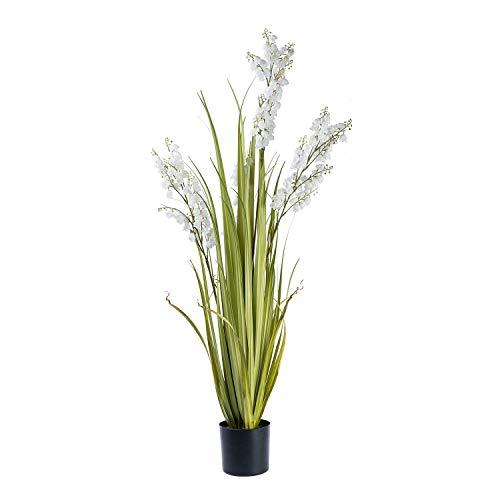 Homescapes - Planta Artificial Grande de Color Blanco con Hojas Verdes realistas largas en Maceta Negra Redonda, 107 cm de Alto para decoración de Interiores