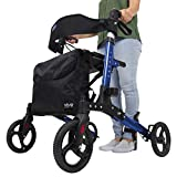 Vive Folding Rollator Walker - 4 Wheel Medical Rolling Walker with Seat & Bag - Mobility Aid for Adult, Senior, Elderly & Handicap - Aluminum Transport Chair (Blue) walkers for seniors Jan, 2021