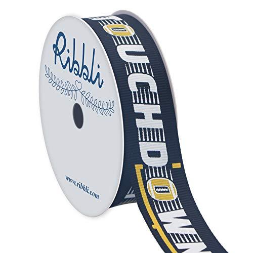 Ribbli Grosgrain Football Touch Down Craft Ribbon,7/8-Inch x 10-Yard,Black/White/Yellow