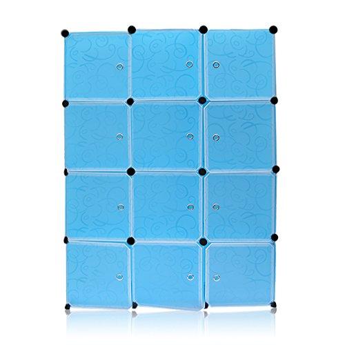 Guardaroba Modulare, 12 Griglie Armadietto Fai da Te, Armadietto Modulare, Mobiletto in Plastica per Il Bagno, Camera da Letto, Ingresso, 140x35x105 cm, Blu