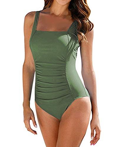 Upopby Vintage Women's Tummy Control Monokini One Piece Swimsuit Retro Bathing Suit Army Green US 12