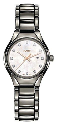 Rado True Damen-Armbanduhr Diamant 30mm Armband Keramik Silber Quarz R27060902
