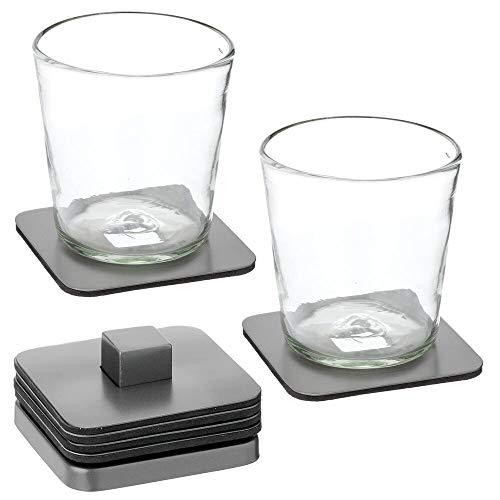 mDesign 6er-Set Untersetzer mit Halter – moderner Bierdeckel aus Edelstahl für Küche und Wohnzimmer – tragbare Glasuntersetzer für Bar, Ess- und Beistelltisch – graphitgrau