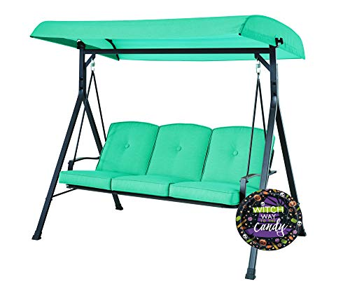 Mainstay 3-Seat Canopy Porch Swing Bed and Halloween Paper Plates Bundle (Blue)