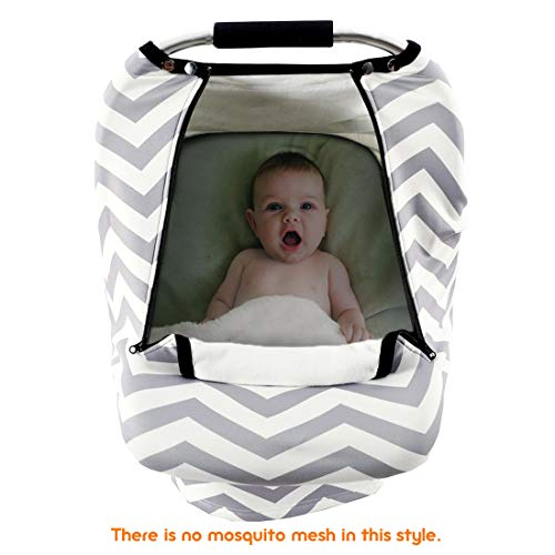 Stretchy Baby Car Seat Covers for Boys Girls, Infant Car Canopy for Spring Autumn Winter,Snug Warm Breathable Windproof, Zipped Peep Window,Universal Fit, Grey White Chevron -Patented Design