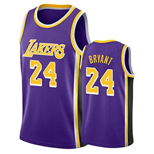 XZDM Camiseta De Baloncesto para Hombre - Kobe Bryant - Uniforme De Baloncesto De Los Lakers # 24, Chaleco Deportivo Sin Mangas Bordado De Malla De Baloncesto Swingman Purple 2-M