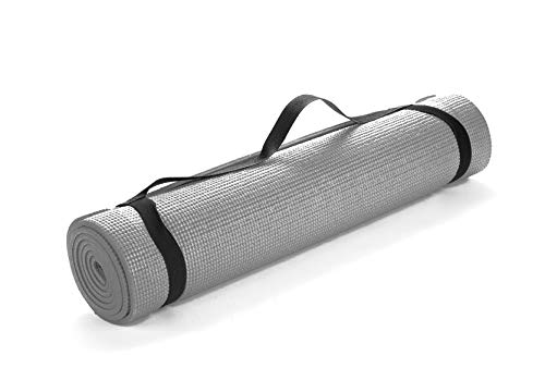 Mind Reader YOGAPVC-PUR All Purpose Extra Thick Yoga Fitness & Exercise Mats with Carrying Strap, High Density Anti-Tear