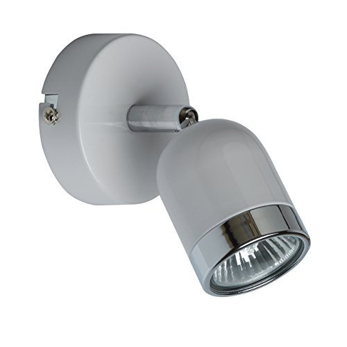 MW-Light 546020501 Wandstrahler Moderner Urban Wandspot Kompakt Weißes Metall Chrom Farbe Drehbar 1 x 35W GU10