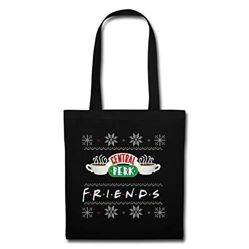 Spreadshirt Friends Pull Moche De Noël Central Perk Sac En Tissu, noir
