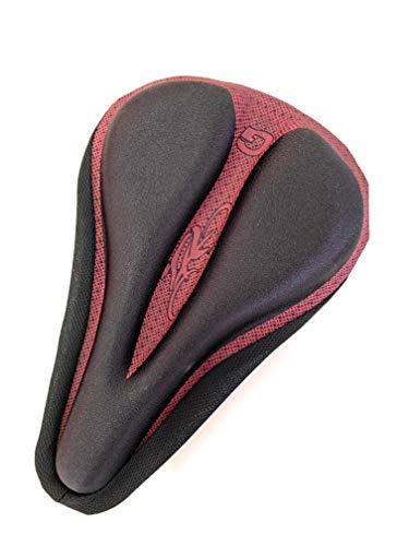 Ducomi Funda para sillín de bicicleta con almohadilla de gel acolchada, ergonómica y suave, para pedalear sin dolor, bicicleta estática, spinning, bicicletas de carreras y ciudad, (Red)