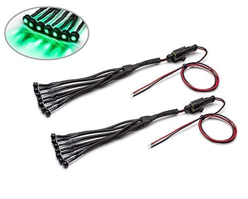 Vert Voiture Moto LED Auxiliaire Jeu de Lumière Encastré 14 Pièce Super Brillant