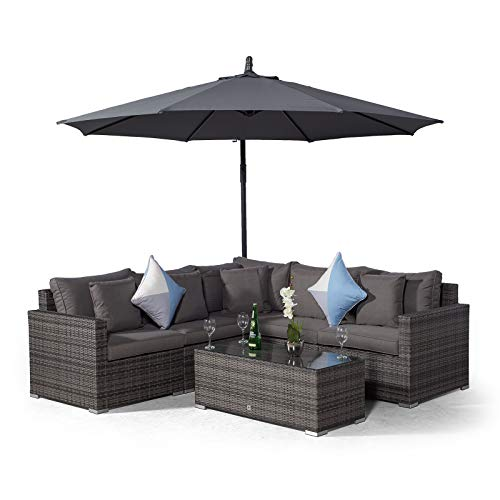 Giardino Havana 5 Seat Grey Rattan Corner Sofa Set + Large Coffee Table + Parasol + Outdoor Furniture Cover | L Shaped Outdoor Corner Sofa | 7 piece Patio Poly Rattan Garden Sofa Set with Sun Lounger