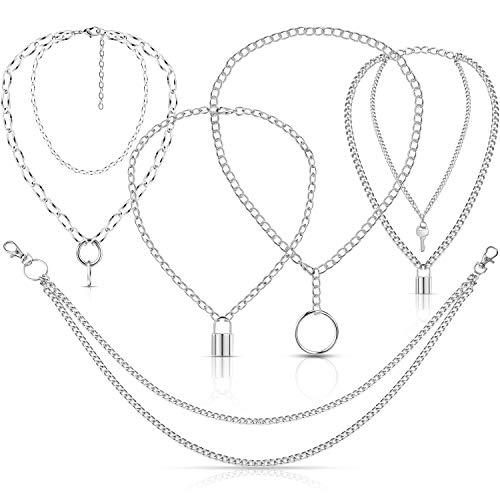5 Piezas Collares de Cadena de Punk Collar de Colgante de Cerradura Cadena de Cartera Pantalones Gargantilla Fornido de Multicapa para Mujeres Hombres