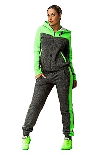 Baymate Donna Tute Sportive Manica Lunga Hoody Felpa con Cappuccio Pantaloni 2 Pezzi Verde L