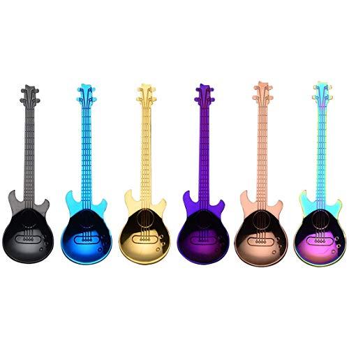 Nrpfell Gitarren Kaffee L?Ffel 6 Pack Kreative Sü?E L?Ffel Edelstahl Tee L?Ffel Gitarren F?Rmig (Mehr Farbig)
