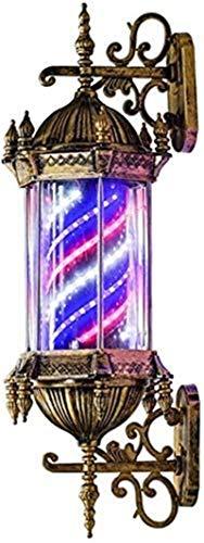 Luces de pared industriales, Barber Shop Traditional Polo 29 'Retro estilo Roma Barber Pole Light Outdoors Impermeable Iluminando Rotativo Rojo Rojo Azul LED Tiras Peluquería Salón Signo Lámpara de pa
