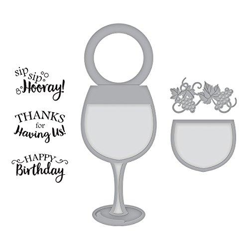 Spellbinders wijn glas fles stempel en sterf set, metaal, meerkleurig, 23,5 x 14,8 x 0,6 cm