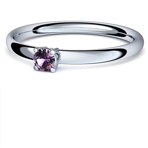 Platin Ring Amethyst 950 + inkl. Luxusetui + Amethyst Ring Platin Amethystring Platin (Platin 950) - Concinnity Amoonic Schmuck Größe 52 (16.6) AM161 PL950AMFA52