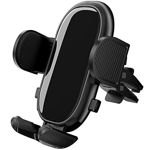 Support Telephone Voiture, Support Telephone Voiture Universel pour Ventilation avec Clip Stable et Double Bouton de Libération Compatible avec Smartphone et GPS Appareils