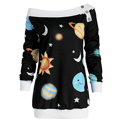 Clearence!!! Fenverk Women Christmas Tops Merry Fashion Round Collar Long Sleeve Casual Womens Space Sun and Moon Star Print Off-Shoulder Sweatshirt Blouse Pullover Jumper(Schwarz,XL)