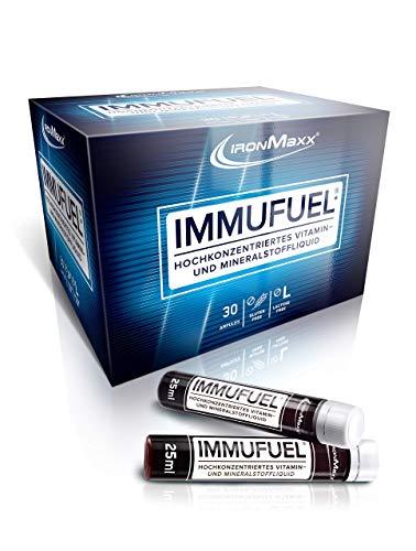 IronMaxx ImmuFuel - 1 Monatspackung mit 30 x 25ml Ampullen - hochkonzentriertes Liquid mit Vitaminen, Mineralstoffen und Spurenelementen - Designed in Germany