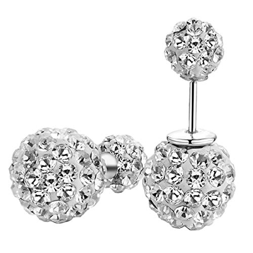 DIB 925 Sterling Silver Sparkle Bling Crystal Rhinestone Earrings Double Sided Front Back Ball Stud Earrings for Women Girls 10mm