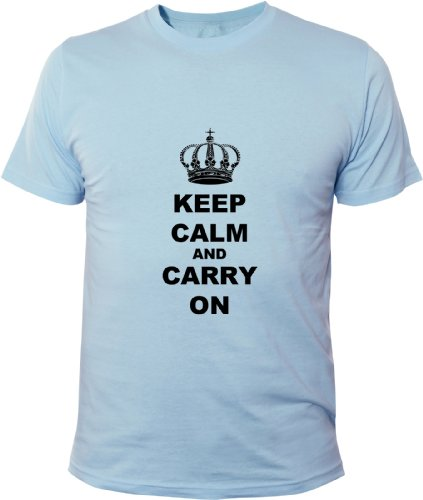 Mister Merchandise Homme Chemise Funny Tee T-Shirt Keep Calm and Carry on, Size: M, Color: Bleu Clair