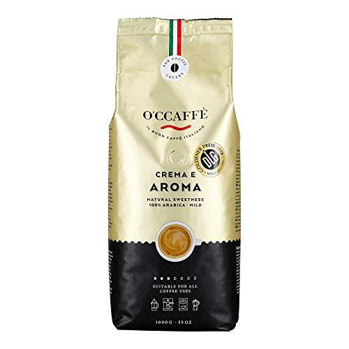 O'ccaffè 100% Arabica Kaffee | extra langsame Trommelröstung | aus italienischem Familienbetrieb | lieblich, komplexer Charakter aus 3 Bohnen-Sorten | 1 kg