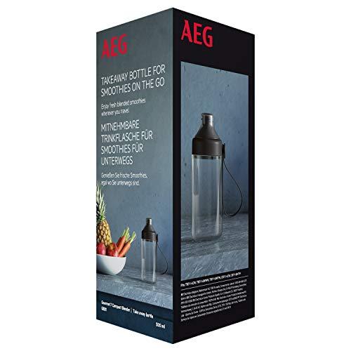 AEG GEB1 Trinkflasche to go (Zusatzflasche für Smoothies für unterwegs, BPA-freier Kunststoff, mit Handschlaufe, 0,5 Liter, passend für Mixer TB7/CB7) schwarz