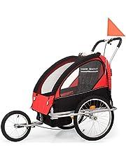 Roderick - Remolque para Bicicleta 2 en 1 para niños con Compartimento para Remolque y Cochecito de Bicicleta, Color Negro y Rojo, 62 x 72 x 62 cm (Ancho x Profundidad x Alto)
