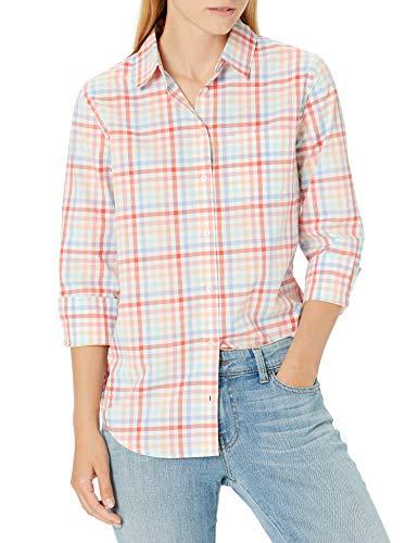 Amazon Essentials Classic-Fit 3/4 Sleeve Poplin Dress-Shirts, Warm Gingham, L