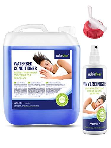 WoldoClean Wasserbett Conditioner 5 Liter & 250ml Vinylreiniger für Wasserbetten - Wasserbettenpflege kompatibel mit Allen Wassermatratzen