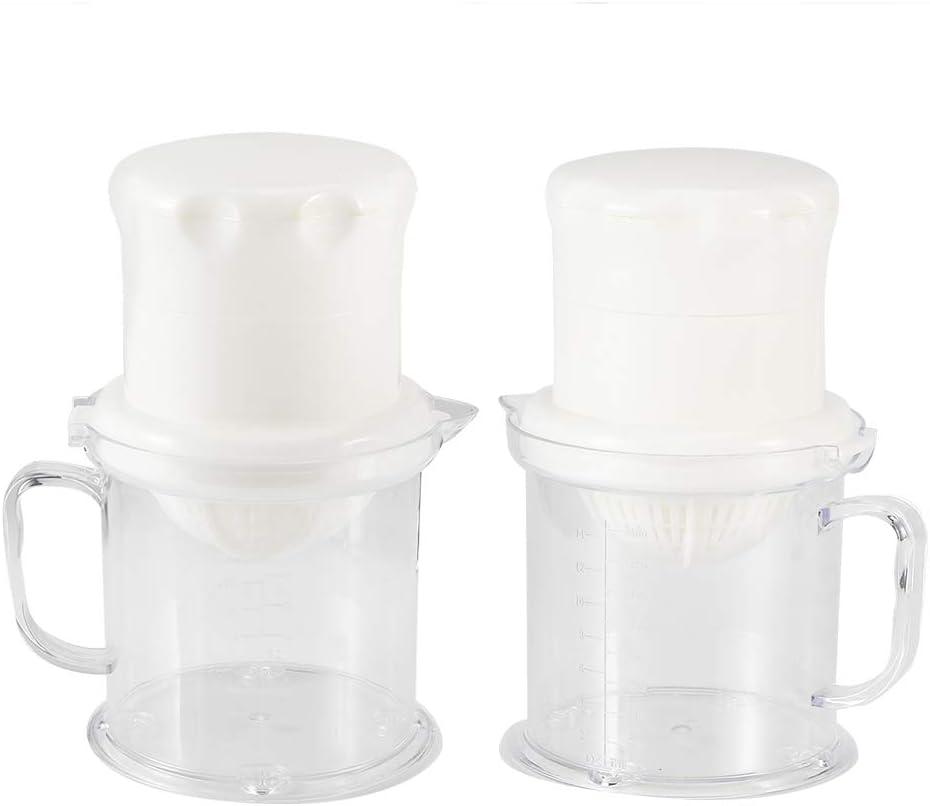 3 piezas portátil de plástico de doble uso PP material manual frutas limón naranja exprimidor extractor utensilios de cocina(Rosado) Blanco