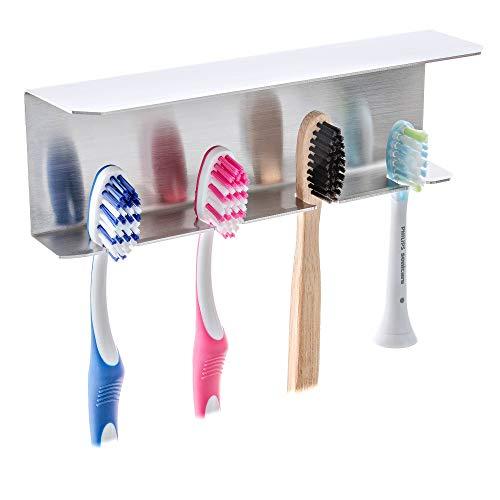 FGE-Line 4er Zahnbürstenhalter mit Ablage aus Edelstahl | selbstklebend & ohne Bohren | Made in Germany
