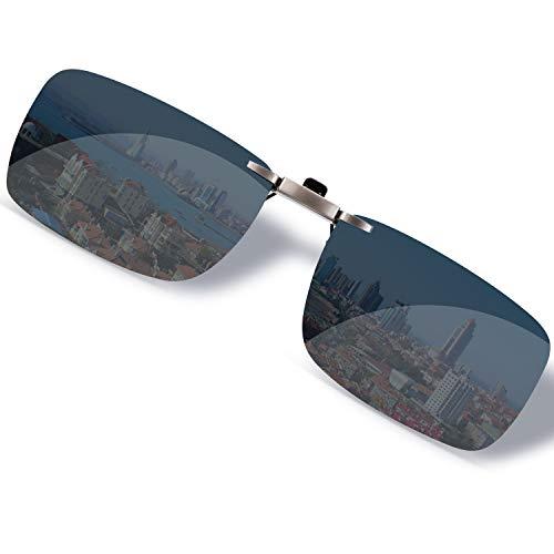SOXICK クリップオン 前掛け 偏光サングラス サングラス クリップ めがねの上から ワンタッチ装着 スモーク メガネに取り付け スクエア サングラス スクエア型-ブラック