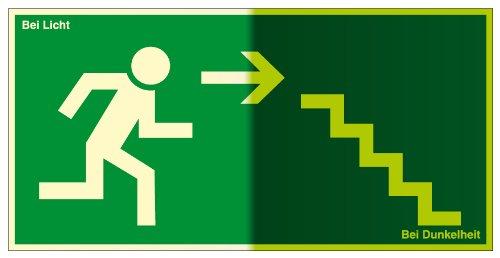 Fluchtwegschild - Treppe abwärts, rechts - Selbstklebende Folie, lang nachleuchtend - 10 x 20 cm