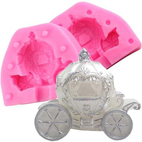 WANGY Molde de Silicona para Carro de Carro de Calabaza Molde de Fondant Herramientas de decoración de PastelesMolde deChocolate