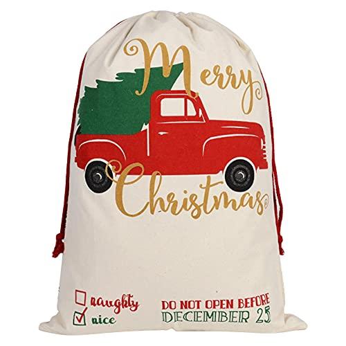 Niktule Bolsa de Dulces navideños con cordón, Bolsas Reutilizables, Saco de Papá Noel de Gran Capacidad, Reutilizables, Bolsas de Envoltura de Regalo Personalizadas para la Fiesta de Navi