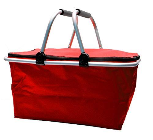 e-Best Thermo Einkaufskorb mit gepolsterten Tragegriffen, Isolierkorb, Kühltasche, Picknickkorb, Thermotasche, Kühlbox, Klappbox, klappbar (Rot)