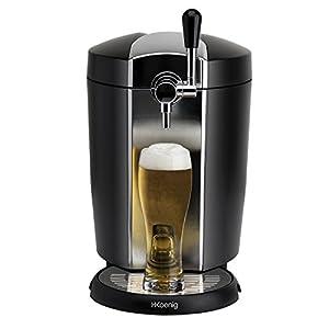 H.Koenig Tirador de Cerveza Compatible con Barriles Presurizados, 5 litros, 65 W, 5k g, Acero Inoxidable, Negro, Gris BW1778